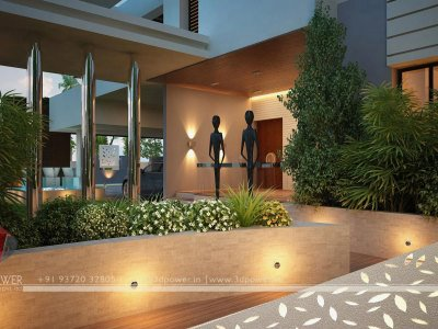 elegant bungalow landscape designing night visualization 3d