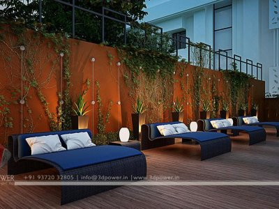 lavish 3d landscape designing night view in hotel