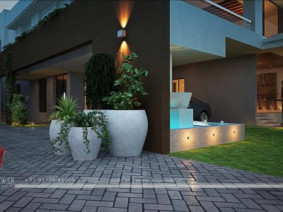 luxurious bungalow landscape design 3d night view