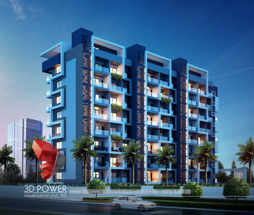 Apartement: Apartment 3d Exterior Rendering Night Visualizatoin