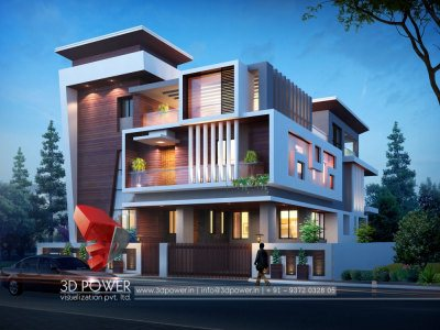 3d bungalow architectural rendering night view