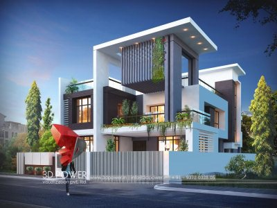 architectural rendering 3d bungalow front view