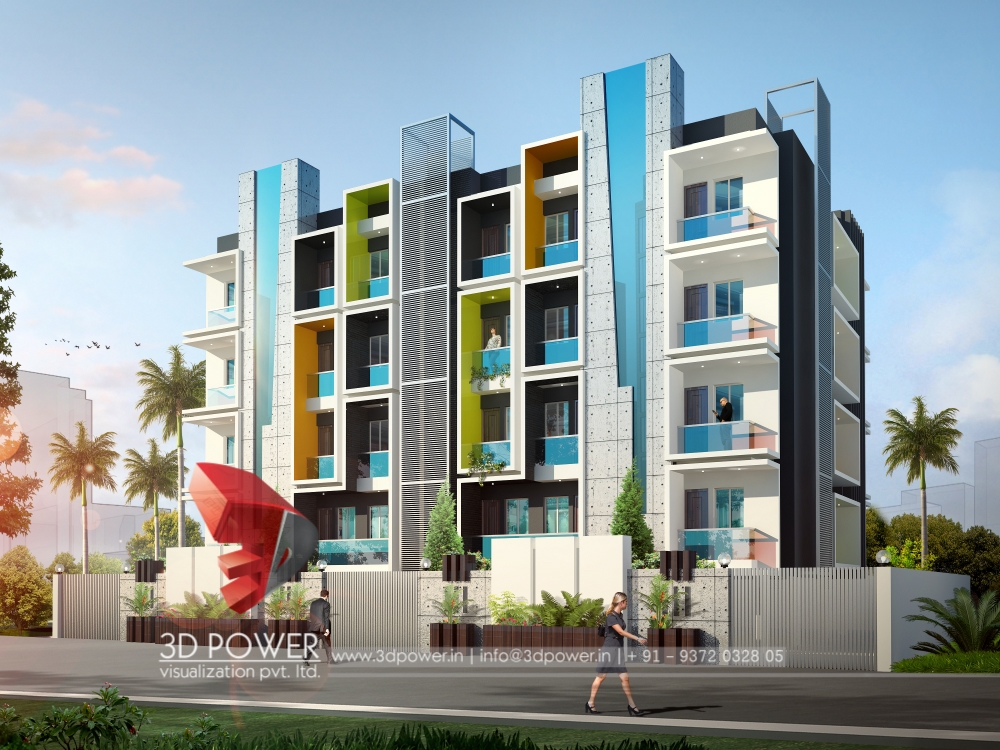 Hotels Front Elevation Design : D architectural apartment rendering