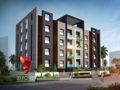 apartment 3d exterior rendering evening view