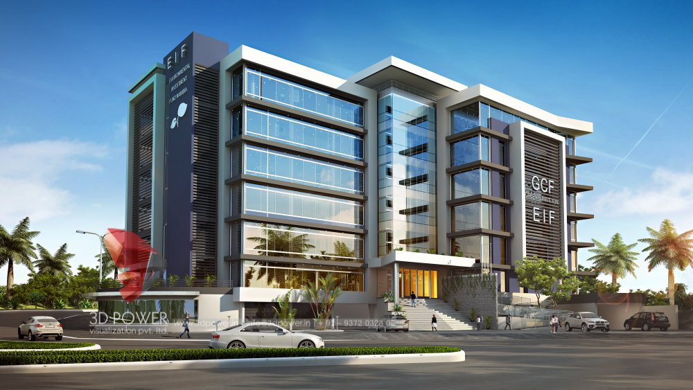3d rendering 3d visualisation rendering service - Small office building exterior design ideas ...