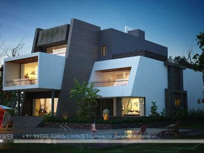 awesome high class bungalow landscape designing with 3d exterior architectural rendering night view design