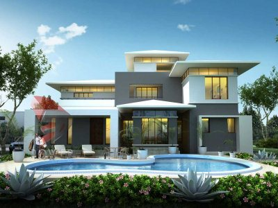 beautiful traditional bungalow 3d front day view with exterior landscape designing