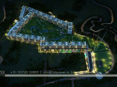 impressive bird eye view township 3d rendering night visualization design