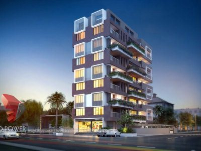 lavish apartment front evening view 3d  rendering walkthrough visualization