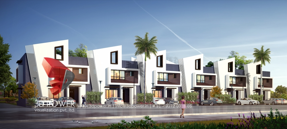 ... Row House 3d Architectural Rendering Day View ...