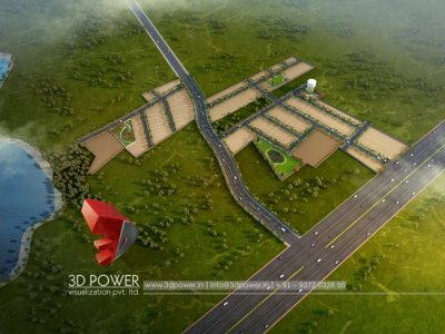 3d architectural rendering bird eye view plots layout