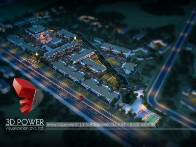 3d architectural township bird eye visualization view