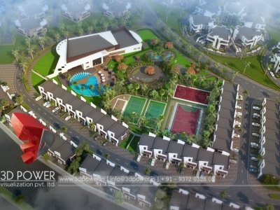 architectural bird eye township club house 3d visualization rendering