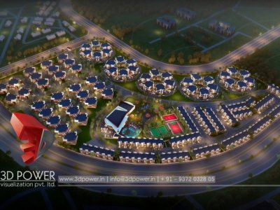 township 3d architectural bird eye visualization