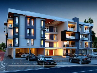 3D Night View Apartment Visualization