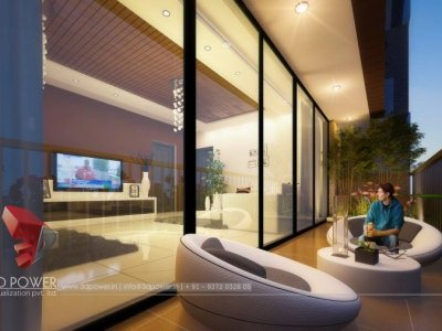 3D Night View Rendering Apartment