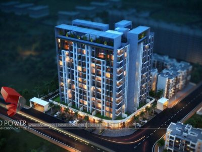 3d-elevation-hyderabad-resedecial apartment-night-view-3d-visualization-services