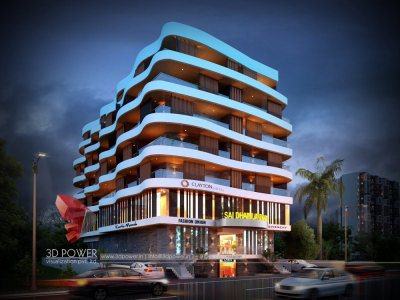 night-elevation-pune-shopping-mall-parking-3d-rendering-front-view