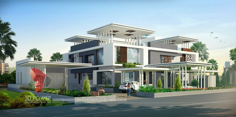 High Quality 3D Bungalow Drawings 3D Bungalow Exteriors ...