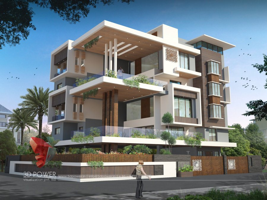 Bungalow rendering services belgaum 3d power for Apartment villa design