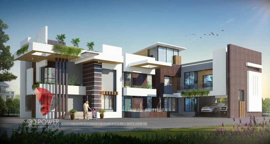 3D Eyelevel View Villa Front Views Bungalow