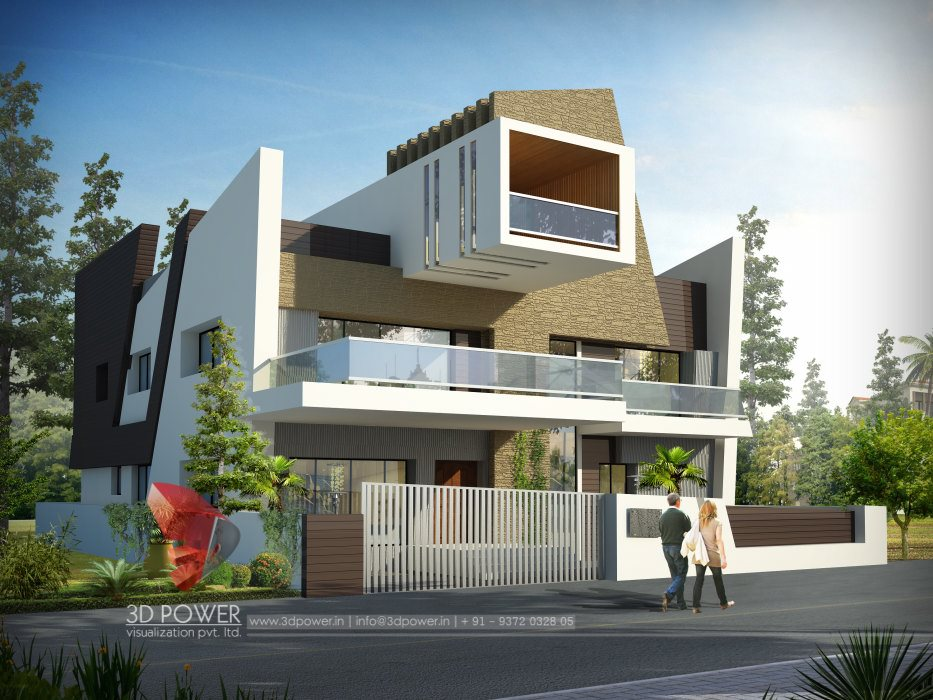 Architectural rendering house ajmer 3d power for Best indian architectural affordable home designs