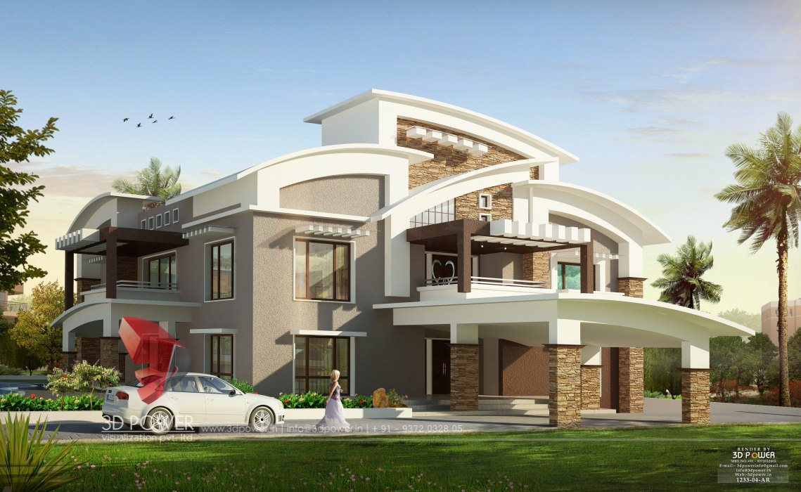 Bungalows mumbai 3d power for House design outside view
