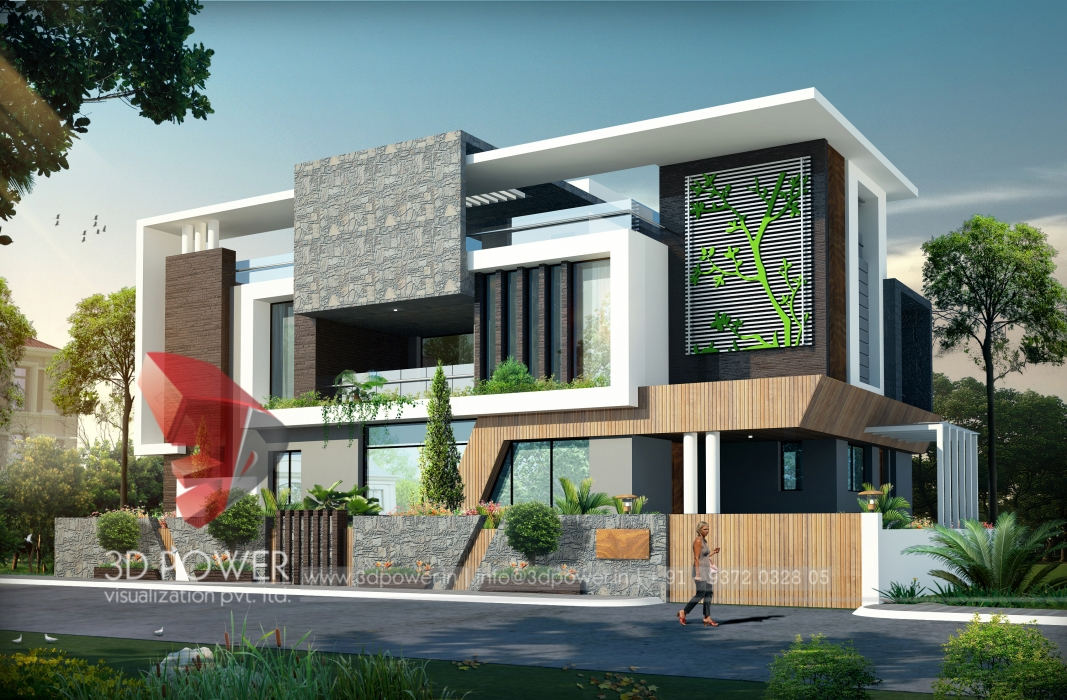 Modern bungalow 3d designs lastest bungalow 3d for Modern home decor india