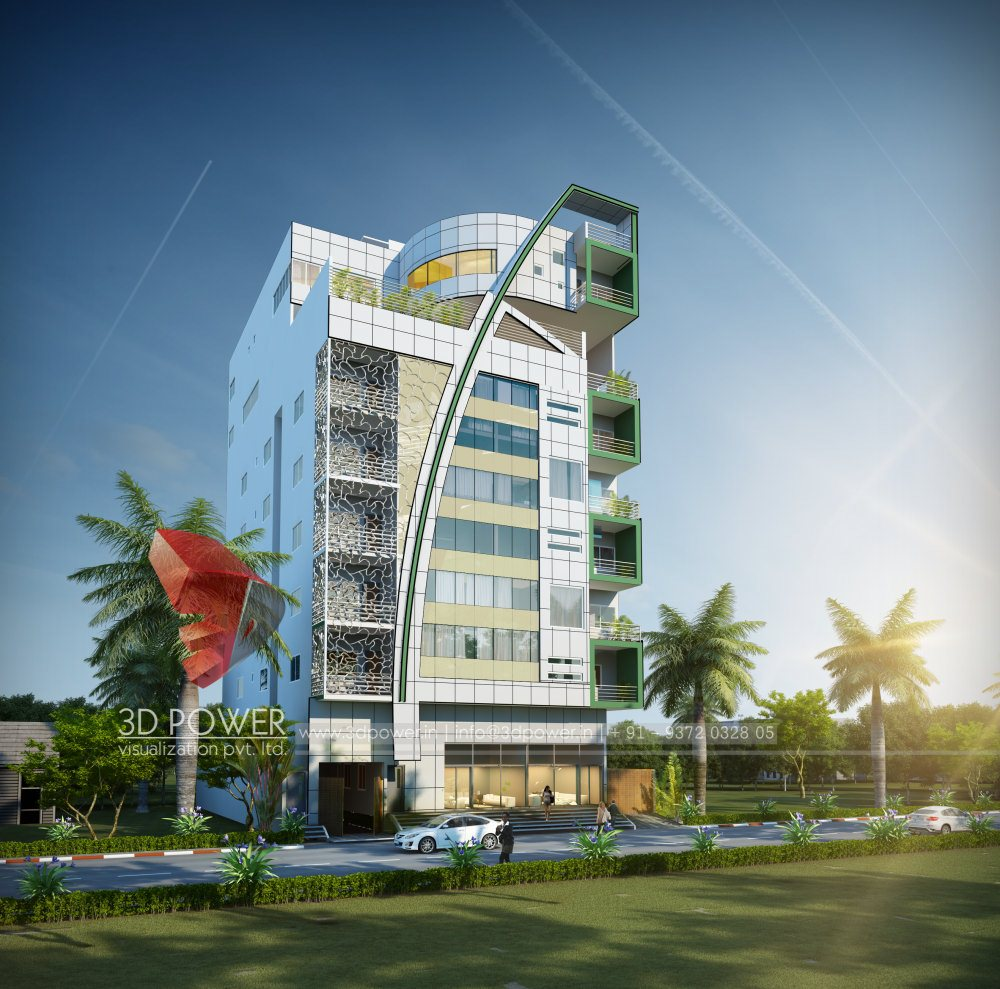 Front Elevation Hotel : Architectural d rendering power