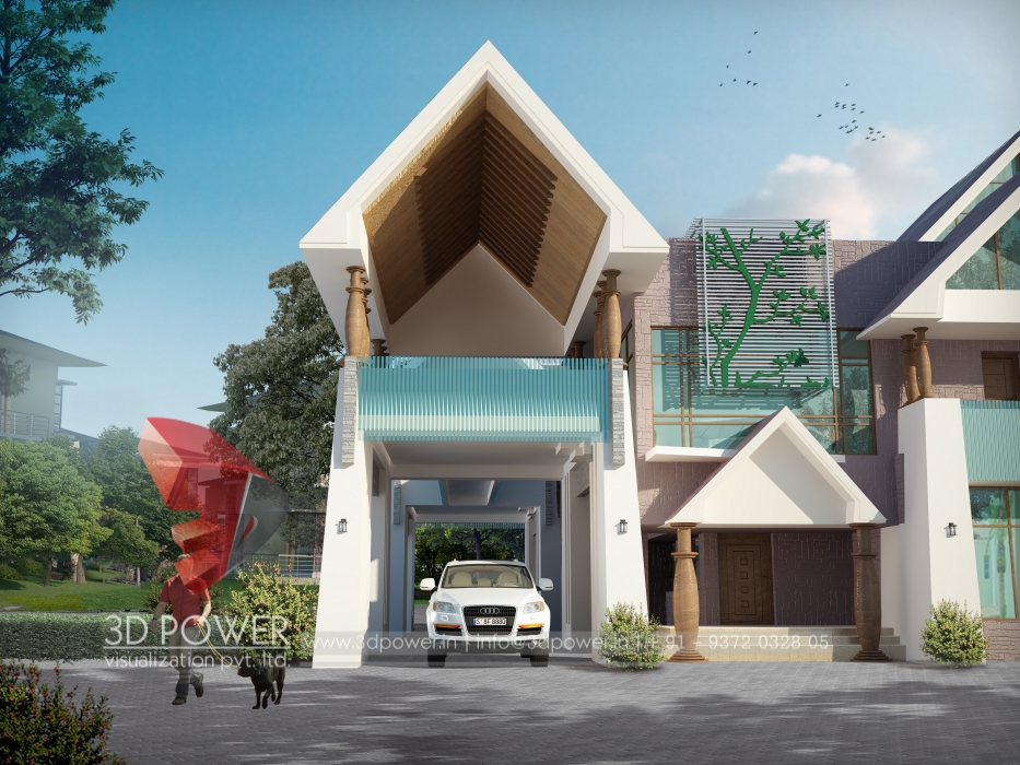 Bungalow architectural pune 3d power for Architecture design for home in pune