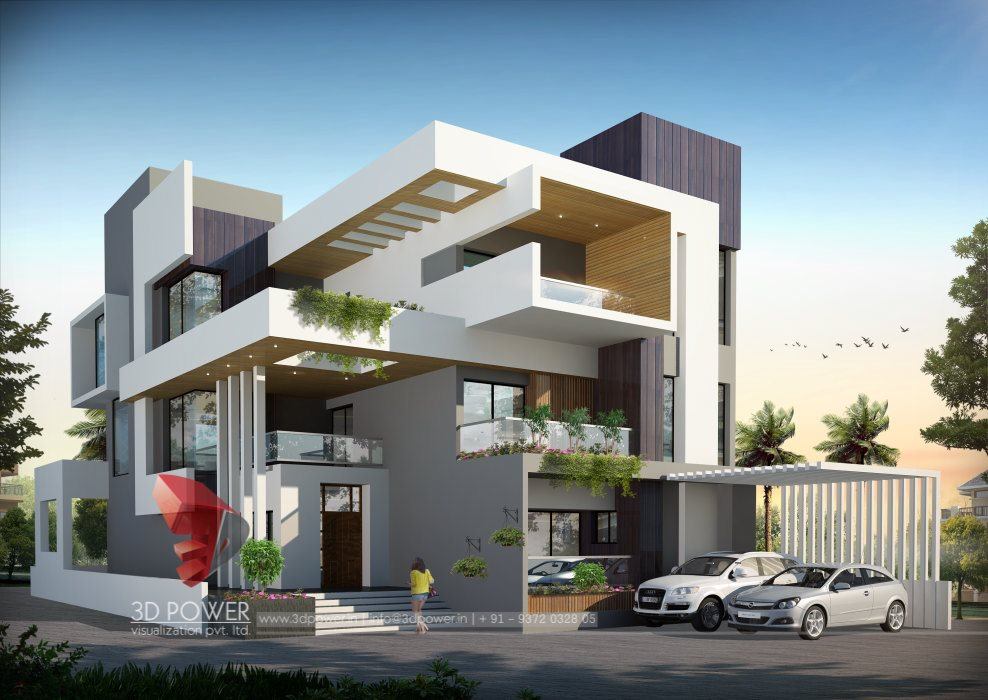 Bungalow floor plans guntur 3d power for Modern house design concepts