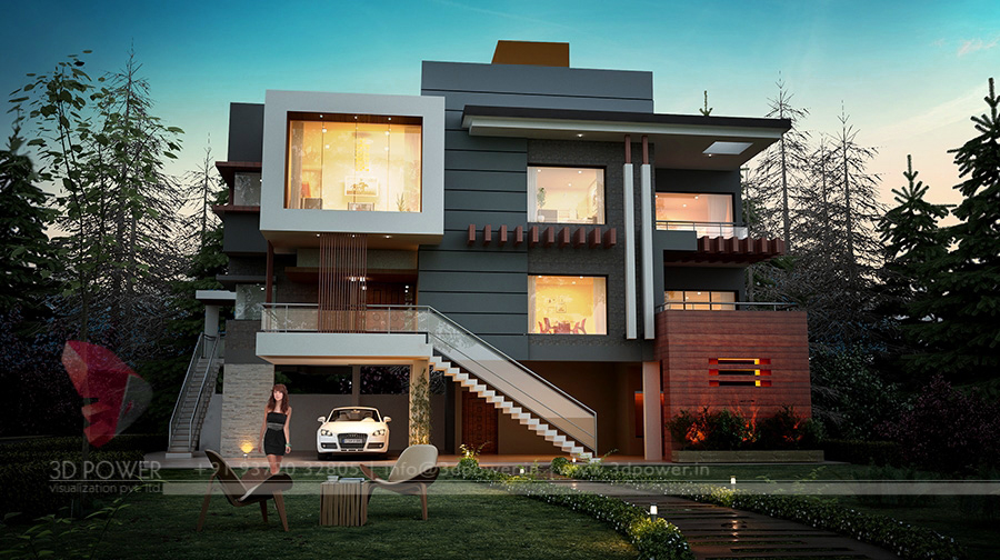 Ultra Modern Front Elevation Design Part - 42: Bungalow Evening View Bungalow Exterior Night View ...