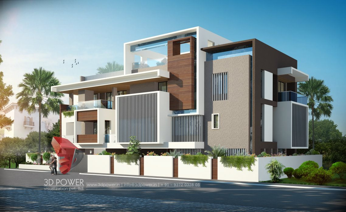 Architectural visualization india 3d power for House outside design in india