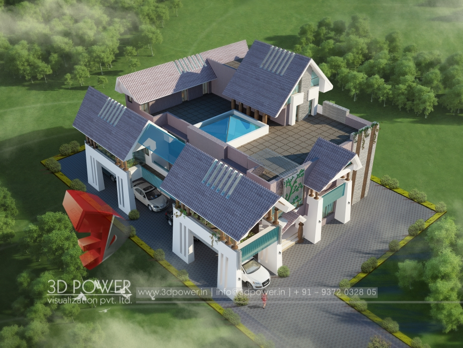 Bungalow visualization jalgaon 3d power Birds eye view house plan
