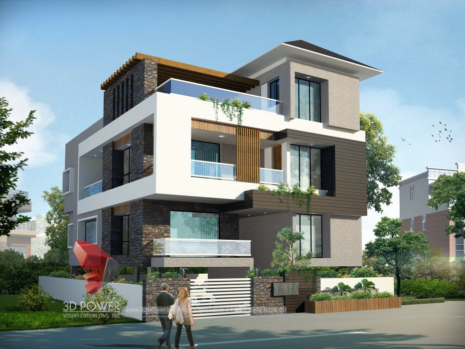 Bungalow architecture mandi 3d power for Modern villa exterior design