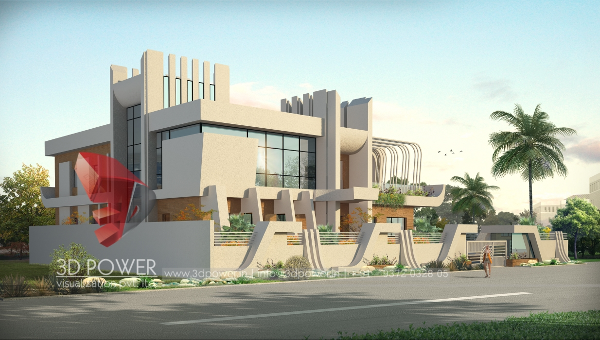 3D Architectural Bungalow Day View Walkthrough Architectural Bungalow ...