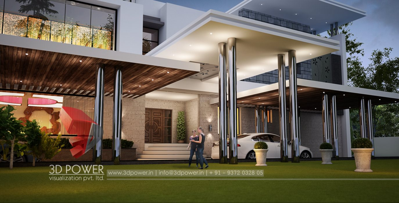 Architectural bungalow thane 3d power for Architectural designs for bungalows