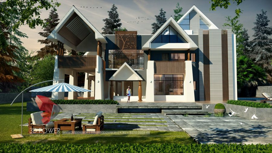 Top Architectural Rendering Services Bungalow Evening View