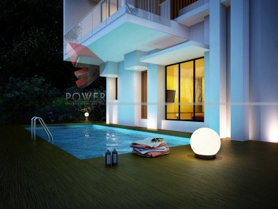 3D Night View Architectural Bungalow