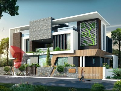 3d bungalow exterior day visualization with photo realistic view