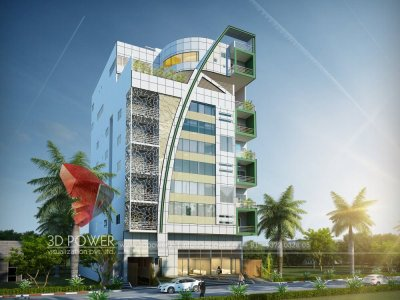 3d front elevation shopping attach 3 star hotel landscape rendering