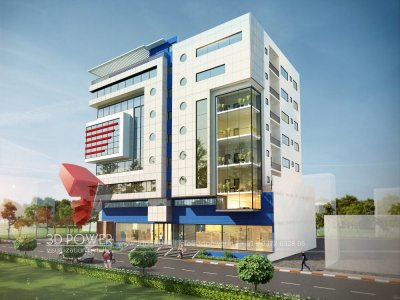 3d rendering exterior day view shpopping and 3 star hotel