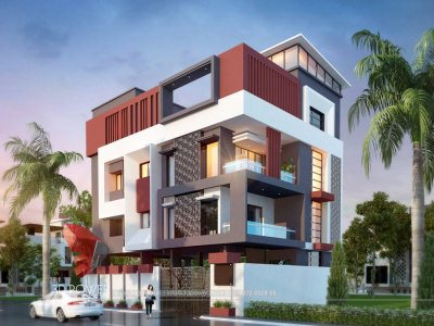3d-architectural-design-studio-best-architectural-rendering-services-bungalow-evening-view-in-hyderabad