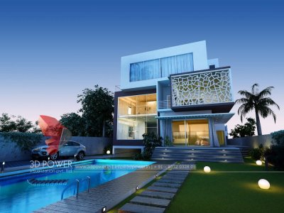 awesome high class bungalow landscape designing and exterior 3d rendering night visualization