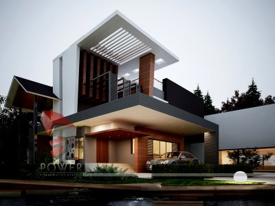 awesome high class farm house 3d architectural exterior rendering night visualization