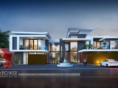 bungalow 3d exterior night visualization rendering