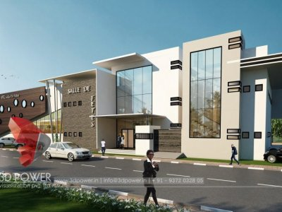 corporate office exterior day view 3d rendering design