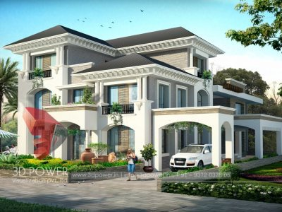elegant bungalow day view with photo realistic  3d exterior rendering