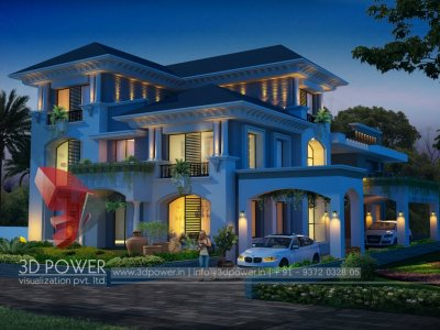 elegant bungalow night visualizatio with photo realistic exterior 3d rendering