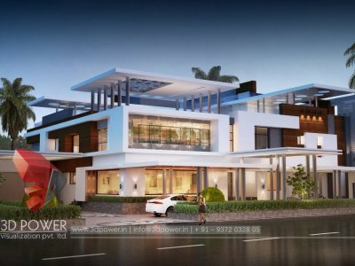 elegant high class bungalow 3d architectural exterior rendering night visualization with photo realistic view